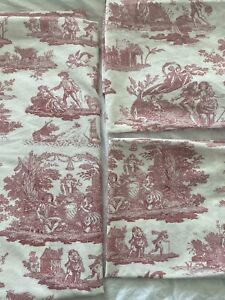 VGC BNWOT Laura Ashley King Duvet Set Toile De Joule Pink 2 Pillowcases Bedding