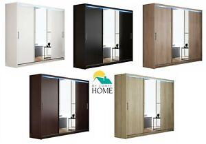 Brand New Wardrobe AVA 13 Sliding Doors Mirror Shelves Hanging Rail 250 cm