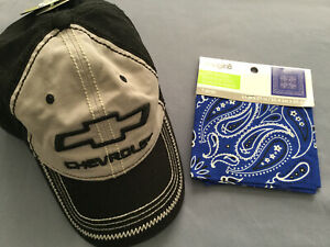 GM Official Licensed Product Black & Gray Chevrolet Hat With Blue Bandana