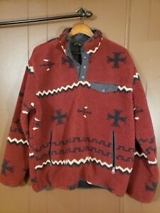 Orvis Heavy Fleece Pullover L Mens  1/4 button Made china