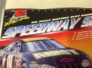 SPEEDWAY SHOWDOWN Life-like HO scale electric slot racing.  Valvoline and Army