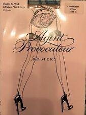AGENT PROVOCATEUR CHAMPAGNE &  IVORY SEAM HEEL STOCKINGS AP SIZE 3 BNIP BRIDAL!