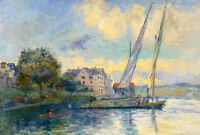 Hand painted Oil painting impressionism seascape with sail boats by Coastal city