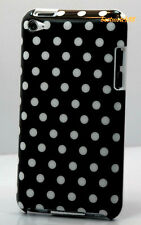 FOR IPOD TOUCH 4TH 4 TH 4 GEN ITOUCH BLACK WITH WHITE POLKA DOT HARD BACK CASE