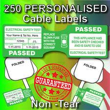 PAT Test STRONG Cable Tag/Labels (Personalised) x 250 Non-Rip,Strong Adhesive