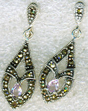 925 Sterling Silver Amethyst & Marcasite Drop / Dangle Earrings Length   1.1/2""