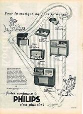 PUBLICITE ADVERTISING   1954   PHILPS  radiophone  tourne disque