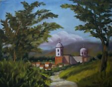 Walking To Town, 18x14 Canvas Oil painting, plein air art at buyers low price!