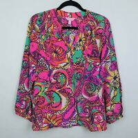 Lilly Pulitzer 100% Silk Elsa Blouse Top Multi Sea and be Seen Print Bright Sz S
