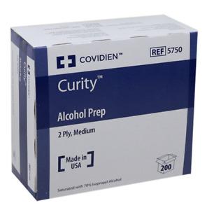 Alcohol Prep Wipe, Sterile Coviden 5750 Curity - Box of 200 wipes