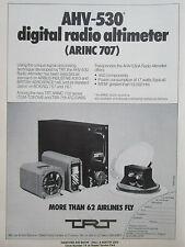 3/1980 PUB TRT AHV-530 DIGITAL RADIO ALTIMETER ARINC 707 ORIGINAL AD