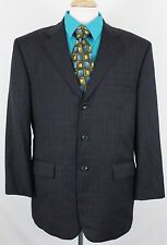 Gianni Manzoni Men's Suit Jacket 46R Lined Charcoal Windowpane Reda Super 120