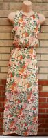 MELA LOVES LONDONC REAM FLORAL ORANGE SPLITS SIDES CHIFFON LONG MAXI DRESS 12 M