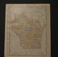 Antique Color map of Wisconsin.  Circa 1903. Nice detail