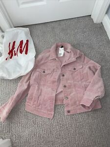 H&M LOGG Pink Corduroy Jacket Women's 8 New With Tags.