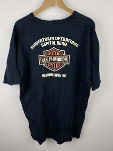 Vintage Harley Davidson Factory Tour Mens T Shirt Size 2XL Crew Neck Tee USA