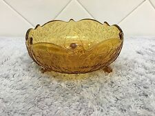 Amber Leaf Twig Depression Glass Footed Candy Dish