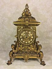 Antique French Figural Brass Clock Greek Motif Beautiful Case and Face Maker?