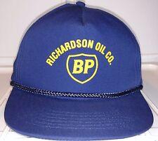 RICHARDSON OIL CO. BP Oil Gas Dark Blue Snap Back TRUCKERS Hat Cotton Polyester