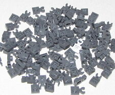 Lego Lot of 100 New Dark Bluish Gray Plates Modified 1 x 1 with Clip Vertical