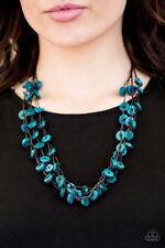 """Hoppin Honolulu"" Blue Wooden Bead Necklace Set By Paparazzi"