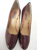 "Paul Smith SWIRL Court Shoes Wine Red Reptile Skin 3.5"" Heels EU37 UK4"