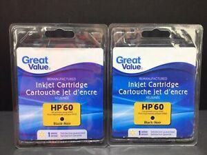 Lot of 2 HP 60 BLack Remanufactured Ink Printer Cartridge Deskjet GREAT VALUE
