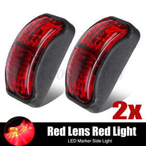2pcs 12- 30V Red 2 LED Front Side E4 Marker For Car Truck Trailer Van Camper US
