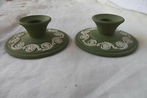 Vintage Pair of WEDGWOOD Green Jasperware Candle Holders