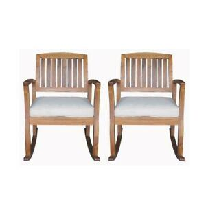 Noble House Outdoor Rocking Chair Wood Solid Polyester White Cushion (2-Pack)