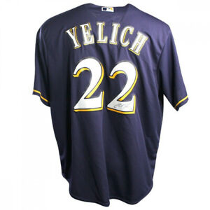 CHRISTIAN YELICH Autographed Milwaukee Brewers Majestic Navy Jersey STEINER