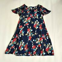 Monsoon Navy Blue Floral Flare Sleeve Floaty Loose Short  A Line Dress Size 12