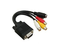 Cable alargador VGA macho A 3 RCA TV S-Video  AV Adaptador