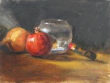 Original Oil Painting GLASS BOWL Pomegranate Classic Still Life 9x12 Realism ART