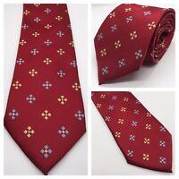 T.M.Lewin Red Geometric Pattern 8.5cm Wide 100% Silk Classic Tie