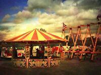 Photography Composition Fairground Stall Ride Flag Cloudy Canvas Art Print