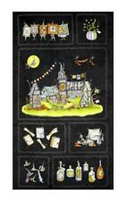 Salem Quilt Show Halloween Witches Charcoal Black Cotton Quilting Fabric Panel