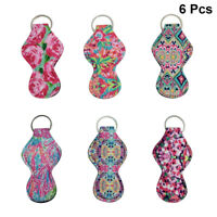 6pcs Lipstick Holders Keychains Vibrant Chapstick Holder Keyring for Xmas Gift