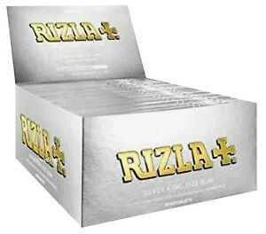 1 Box RIZLA® Slim Silver King Size Papers 50 x 32 Blättchen Silber Original®