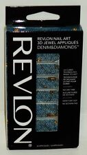 Revlon Nail Art 3D Jewel Appliques BLUE DENIM & DIAMONDS No Dry Time 18ct