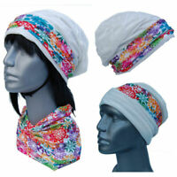 Cool4 Structure Beanie White Colourful Floral Kopftuch-Look - 2erSet Chemo SBK07
