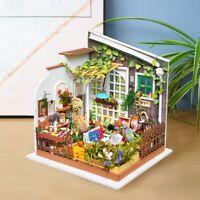 ROBOTIME Miniature Dollhouse With Light DIY Wooden Garden Handmade Gift Toy Girl