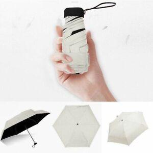 Mini Umbrella Pocket Flat Windproof Folding Lightweight Parasol Sun Rain Anti UV