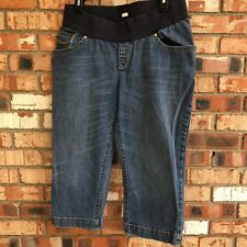 Old Navy Womens Maternity Size Large Denim Jean Capris Low Rise Stretch Blue