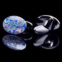 Cufflinks For Mens Brand Cuff Buttons Blue Enamel Cuff Links High Quality