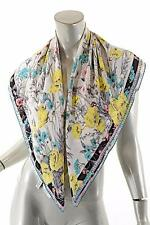 "KENZO Multi 100% SILK Crepe de Chine Floral Square Scarf - Beautiful - 34""x 35"""