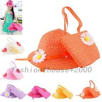 Handmade Kids Girls Children Baby Sunhat Straw Hat Cap Handbag Bags Flower Beach