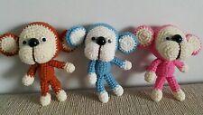 3 Friend Monkeys Crochet Doll Yarn Handmade for Key chain or special gift