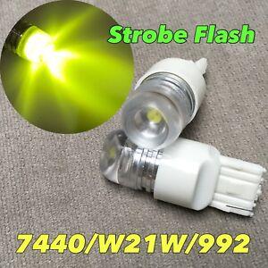 STROBE FLASH Rear Turn Signal T20 7440 7441 992 W21W 5W SMD LED YELLOW Bulb W1 J