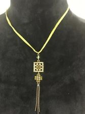 Green Gemstone Clover Square Pendant Necklace With Tassle On Leather Cord